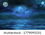 Alien World In Space. 3d...