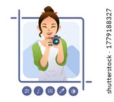 young girl pose holding digital ... | Shutterstock .eps vector #1779188327