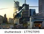 helicopter flies through... | Shutterstock . vector #177927095