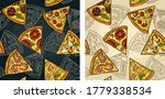 seamless pattern slice pizza... | Shutterstock .eps vector #1779338534
