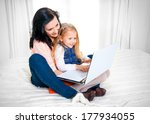 happy blonde haired daughter... | Shutterstock . vector #177934055