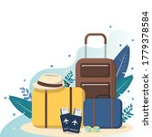 travel banner with suitcases.... | Shutterstock .eps vector #1779378584