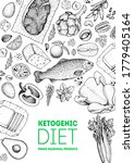 ketogenic diet sketch. food... | Shutterstock .eps vector #1779405164