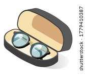 glasses in black frame in case. ... | Shutterstock .eps vector #1779410387