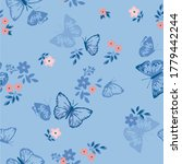 cute flowers and cute butterfly ... | Shutterstock .eps vector #1779442244