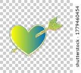 Arrow Heart Sign. Blue To Green ...