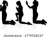 silhouette of a kneeling woman. | Shutterstock .eps vector #1779528137