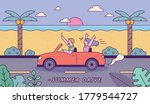 couples driving summer beaches. ... | Shutterstock .eps vector #1779544727