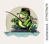 Frog Fishing Vector...