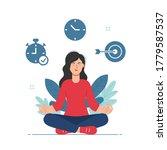 woman doing meditation during... | Shutterstock .eps vector #1779587537