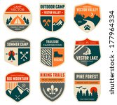 set of vintage outdoor camp... | Shutterstock . vector #177964334