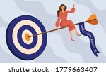 working woman sitting on arrow... | Shutterstock .eps vector #1779663407