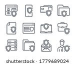 cybersecurity line icons. data...