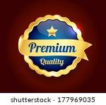 golden premium quality badge | Shutterstock .eps vector #177969035