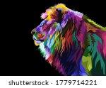 colorful lion head on pop art...   Shutterstock .eps vector #1779714221
