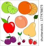 set of hand drawn juicy fruit | Shutterstock .eps vector #177978875