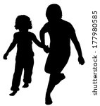 sisters walking silhouette...   Shutterstock .eps vector #177980585