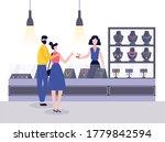 jewellery shop with seller...   Shutterstock .eps vector #1779842594