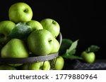 Juicy Green Apples In Metal...