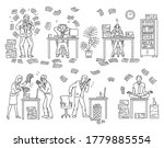 set of black outline cartoon... | Shutterstock .eps vector #1779885554