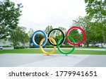 Small photo of SHINJUKU TOKYO, JAPAN - July 11,2020 : The five ring symbol of the Olympic Games in front of Tokyo museum Japan will host the Tokyo 2020 summer olympics but suspended by COVID-19 pandemic.