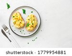 Scrambled Eggs On Toasted Bread ...