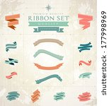retro ribbons set | Shutterstock .eps vector #177998969