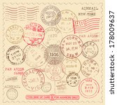 vintage stamps set   set of... | Shutterstock .eps vector #178009637
