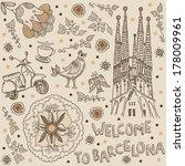 barcelona. background welcome...   Shutterstock .eps vector #178009961