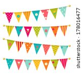 vector triangle bunting flags... | Shutterstock .eps vector #178016477