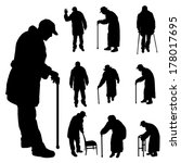 vector silhouette of old people ...