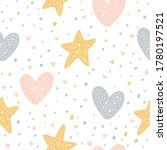 seamless pattern with hearts ...   Shutterstock .eps vector #1780197521