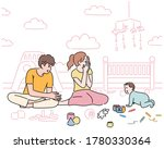 the baby is crawling to dad and ... | Shutterstock .eps vector #1780330364