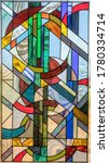 Stained glass window panel of...