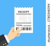 bill. hand holding receipt.... | Shutterstock .eps vector #1780348394