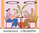 women drinking coffee and... | Shutterstock .eps vector #1780360994