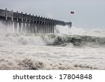 Photo taken amid sea spray and crashing waves as Hurricane Ike