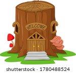 cartoon tree stump fairy house | Shutterstock .eps vector #1780488524