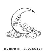 magic crescent moon with face ... | Shutterstock .eps vector #1780531514