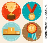 vector achievement badges and...   Shutterstock .eps vector #178056071