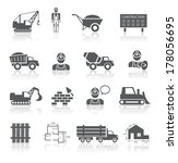 Construction pictograms collection of worker industrial vehicles and blueprint isolated vector illustration