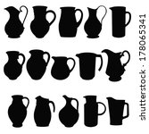 Jugs, black silhouettes of kitchen utensils. Vector illustration