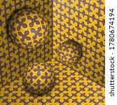 three spheres move in corner....   Shutterstock .eps vector #1780674194