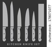 vector knife icon set | Shutterstock .eps vector #178071077