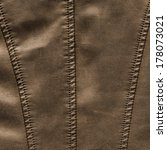 brown leather texture  stitch | Shutterstock . vector #178073021