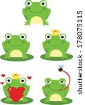 happy frog sitting on a leaf... | Shutterstock .eps vector #178075115