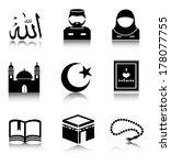 set muslim icons on a white... | Shutterstock . vector #178077755