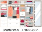 open wardrobe with clothes... | Shutterstock .eps vector #1780810814