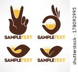 hands and drink  vector icons... | Shutterstock .eps vector #178092995
