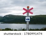 Snowmobile Trail Sign With...